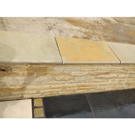 Yellow Limestone Wall Coping | Bullnosed Edges