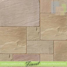 Paving - Raj Green Sandstone - Antique/Tumbled - 22mm Calibrated - Patio Pack