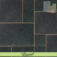 Black - Leathered Granite - Patio Pack x 22mm - Sawn Edge