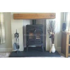 Black Limestone Fireplace Hearth | Bespoke Sizes | Naturally Smooth Surface | Bullnosed Front Edge