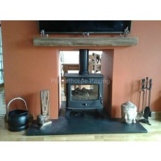 Black Limestone Fireplace Hearth | Bespoke Sizes | Naturally Smooth Surface | 3 Bullnosed Edges