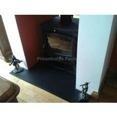 Black Limestone Fireplace Hearth | Bespoke Sizes | Naturally Smooth Surface | Sawn Edges