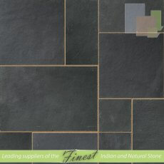 Kota Black - Limestone -  Patio Pack x 22mm - Sawn Edge