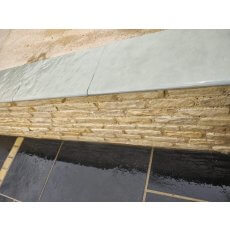Blue Limestone Wall Coping | Bullnosed Edges