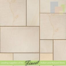Paving - Mint Desert Sandstone - Sawn Edge - 22mm Calibrated - Patio Pack - Smooth Finish