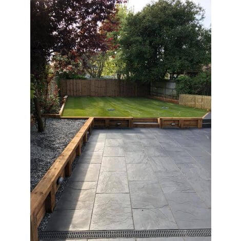 Blue-Black Riven Slate - Sawn Edges - Single Size Paving Slabs